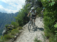 Tarja leads a group down the descent above Limone